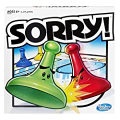 Slide, collide and score to win the Sorry! Game. Kids draw cards to see how far they get to move one of the pawns on the board. If they land on a Slide they can zip to the end and bump their opponents' pawns – or their own! Jump over pawns an...