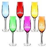 Fine Crystal Multi Color Champagne Flute 6 Piece Gift Set