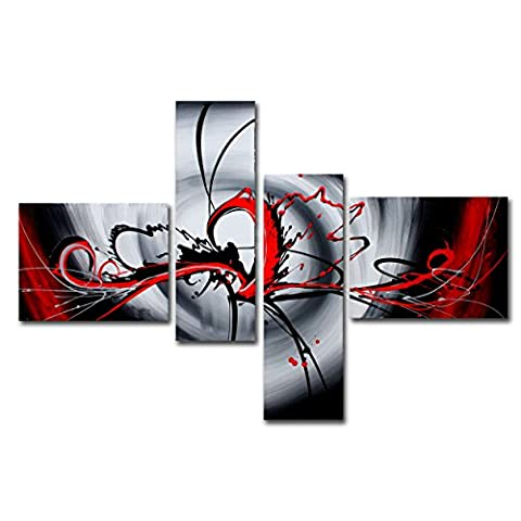 FLY SPRAY 4-Piece 100% Hand-Painted Oil Paintings Panels Stretched Framed Ready Hang Black Red Lines Modern Abstract Canvas Living Room Bedroom Office Wall Art Home - Painting Hand Brush