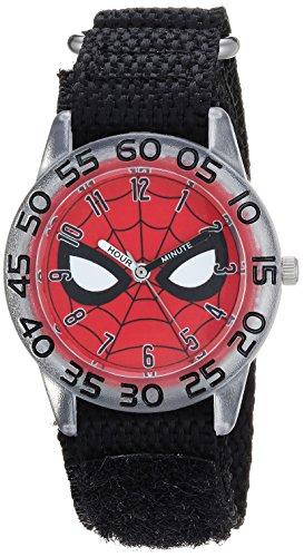(MARVEL Boys Spider-Man Analog-Quartz Watch with Nylon Strap, Black, 19 (Model: WMA000187))