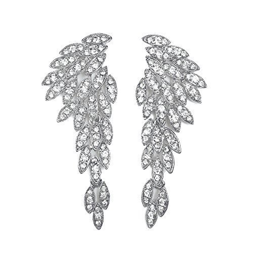 Les Bohémiens Large Clip-On Earrings Angel Wings Eagle Wings Statement Dangle Earrings Wedding Bridal Prom Crystal Chandelier Long Drop Earrings Beauty Pageant Drag Queen Clip On Earrings (Silver) ()