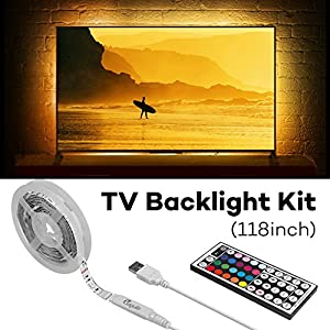Megulla Bias Lighting for HDTV (118in/3m) with RF Remote Control Multi-Color RGB TV LED Backlight Strip Lighting Kit for Flat Screen TV LCD, Desktop Monitors - Fits 55-70in TV