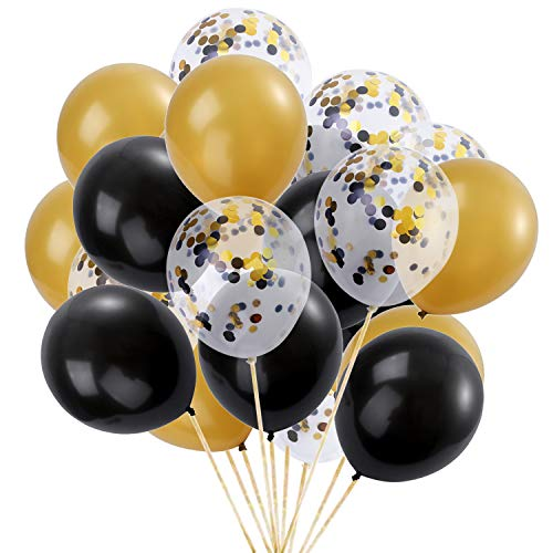 Black and Gold Confetti Balloons 12inch 75Pcs Latex Party Balloons Helium Balloons Party Decoration Balloons Compatible Birthday Baby Shower Party - Black,Gold,Confetti Balloons by Brontothere