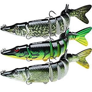 TRUSCEND Fishing Lures for Bass Trout Multi Jointed Swimbaits Slow Sinking Bionic Swimming...