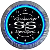 Neonetics Chevrolet Chevy SS Super Sport Clock - 15 Inch Diameter with Blue Neon - 8CHVSS