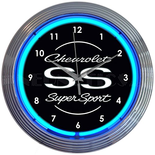 (Neonetics Chevrolet Chevy SS Super Sport Clock, 15 Inch Diameter with Blue Neon - 8CHVSS)