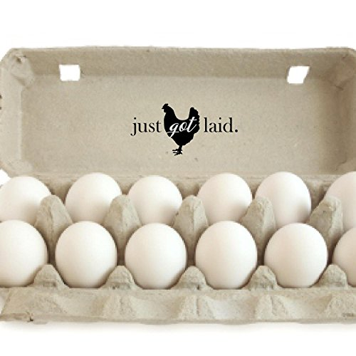 "Horizontal Just Got Laid Wood Handle Rubber Stamp, Fresh Egg Stamp, Egg Carton Stamp, Fresh Eggs, 2"" x 2"""