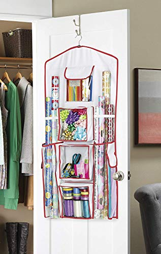 "Whitmor Gift Wrap Organizer - Space Saving and Storage Solution for Wrapping Paper, Ribbons, Craft Supplies and More - Can Hold 40"" Rolls of Gift Wrap - 4 Extra Pockets and Sturdy Hanging Hook"