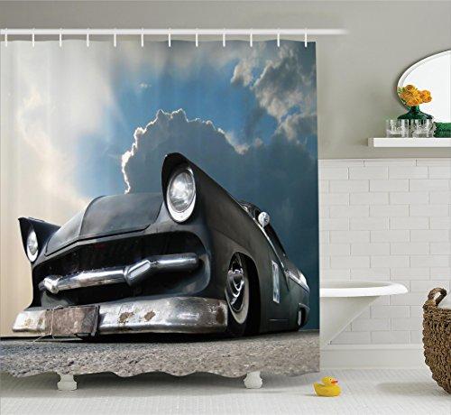 Ambesonne Manly Decor Collection, Custom Made Matt Show Car and Dramatic Sky Clouds Broken Classics Cloudscape, Polyester Fabric Bathroom Shower Curtain Set with Hooks, Dark Grey Iridium - Matt Grey Dark