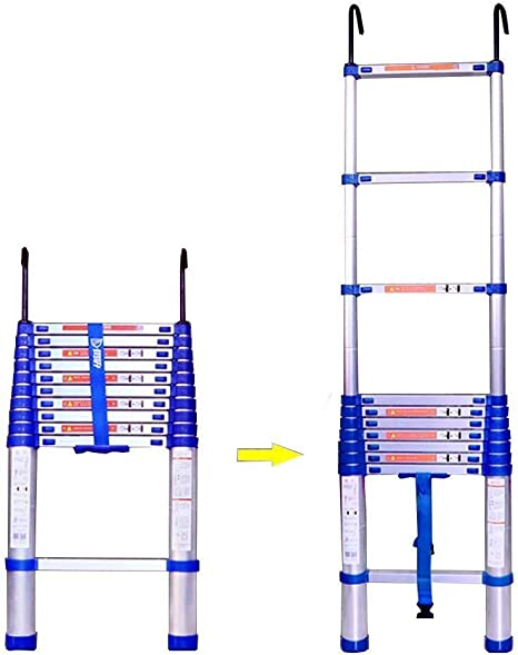 YXLONG Scala Pieghevole De Aluminio De Escalera Telescópica con Gancho Portátil Extensible DIY Plegable Recto para Loft Office Engineering Home,6.15m(20.1ft): Amazon.es: Deportes y aire libre