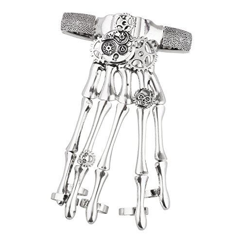Lux Accessories Silver Tone Gothic Skull Tools Full Hand Skeleton Bracelet -