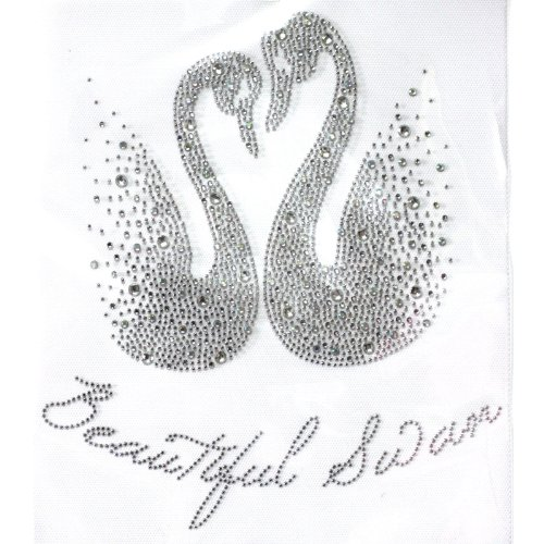 (Rhinestone Transfer Hot Fix T-shirt Clothing Crafts Cushion Beautiful Swan Love Design 1 Sheets 9 10.6 Inch)