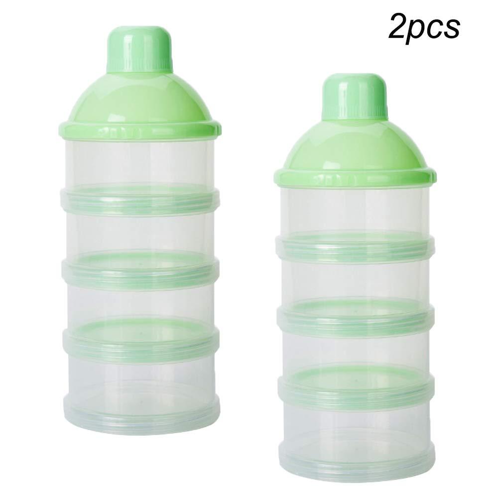 Yellow Non-Spill Baby Kids Milk Powder 4 feeds Snack Storage Container no powder leakage 2 Pcs Formula Dispenser,Portable Milk Powder Box
