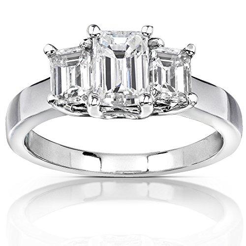 Emerald-cut Moissanite Three-stone Engagement Ring 1 5/8 CTW 14k White Gold, Size 6.5 from Kobelli