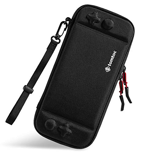 (Ultra Slim Carrying Case Fit for Nintendo Switch, tomtoc Original Patent Portable Hard Shell Travel Case Pouch Protective Cover, 10 Game Cartridges, Military Level Protection, Black)