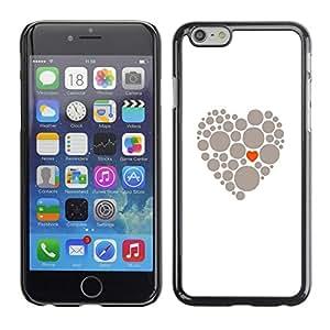 TopCaseStore / la caja del caucho duro de la cubierta de protección de la piel - Heart Meaning Deep Grey White Love Clean - Apple iPhone 6