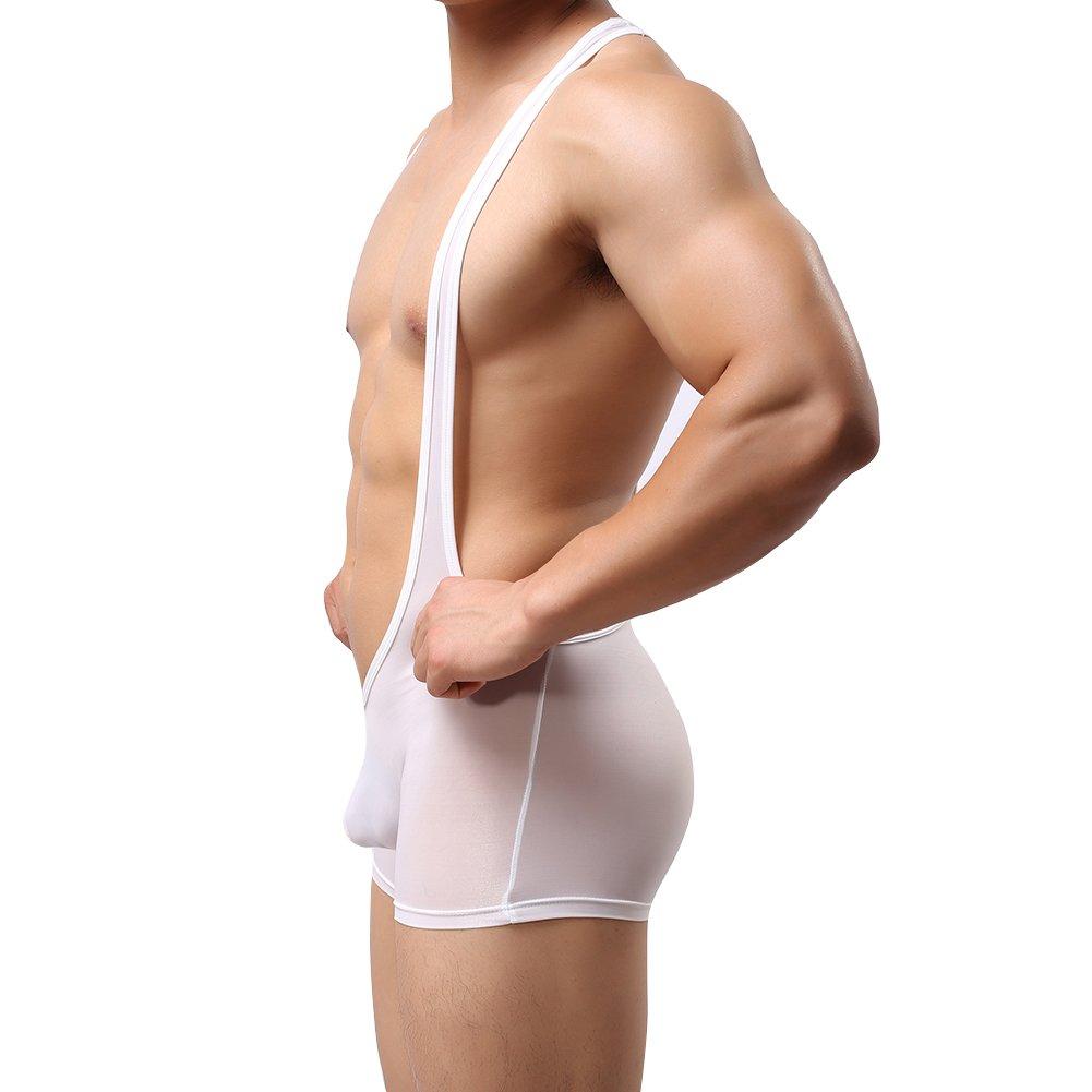 MSemis Mens Suspender Wrestling Singlet Pouch Boxer Briefs Bodysuit Jumpsuit Underwear