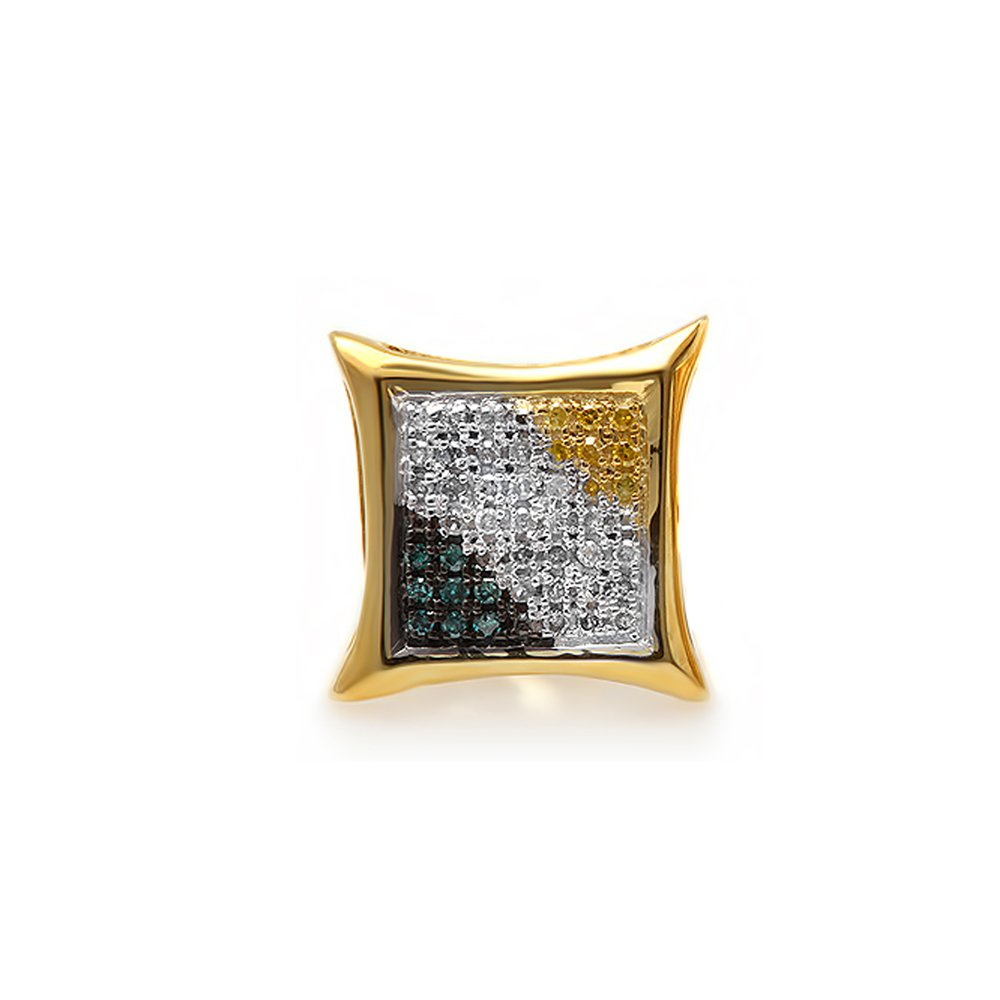 0.10 Carat (ctw) 14K Yellow Gold Round Blue, White & Yellow Diamond Kite Shape Stud Earring (1pc) by DazzlingRock Collection