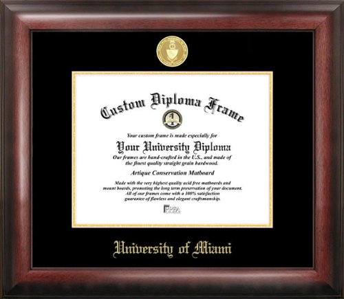- Campus Images University of Miami Gold Embossed Diploma Frame