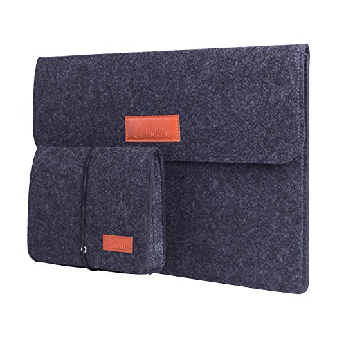 Lidlife 13-13.3 Inch Laptop Felt Sleeve MacBook Air/ Pro Retina/ 12.9 Inch iPad Pro Case Cover Sleeve Ultrabook Netbook Carrying Case Protector Bag with Mouse Pouch (Dark Grey)