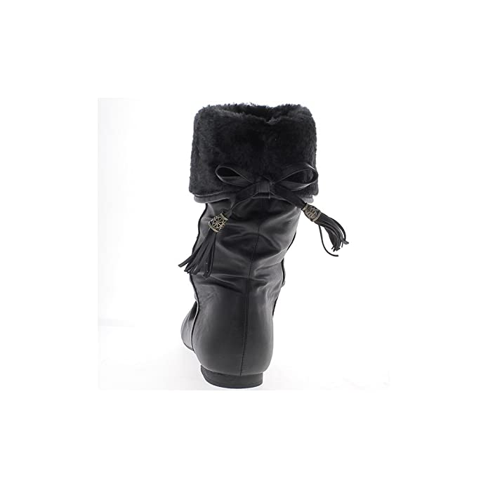 b287cb2b8fc2 ChaussMoi Glänzendem Leder Look-gefüllte Schwarze Flache Ankle-Boots - 41   Amazon.de  Schuhe   Handtaschen