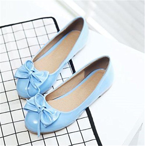 Bow Strap Classic Summer Ankle satisfied Pointed Shoes Shoes Blue Flats Women's Toe Flat Comfy Fashion 0qZ8FY