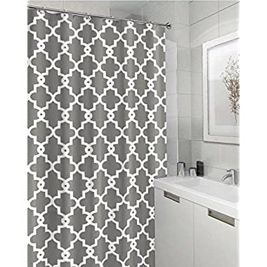 Geometric Patterned Shower Curtain 72  x 72  - GREY