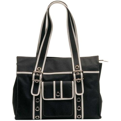 OiOi Changing Bag - The Tote - Black/Off White Eyelet