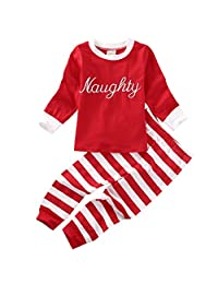 Kids Boys Girls Clothes 2 Piece Pajamas Nightwear Stripes Pants Top Set Sleepwear