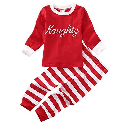 Boys' 2 Piece Pajamas Nightwear Loungewear Stripes Pants Set Long Sleeve Sleepwear Clothes (1T(1-2years), Red)