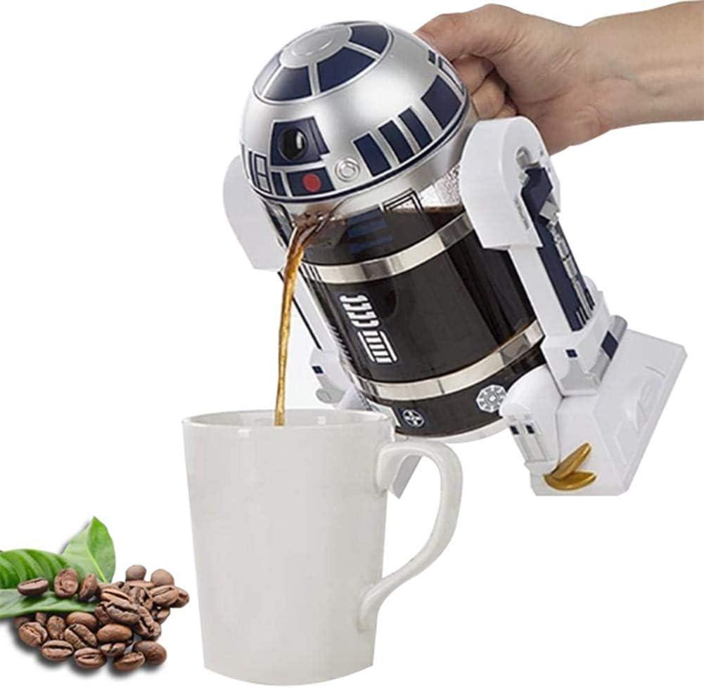 cafetera de Filtro de Acero Inoxidable Mini Robot Home N // A Cafetera de Mano Jarra de vac/ío de Acero Inoxidable Reutilizable Prensa de caf/é con Filtro de Acero Inoxidable