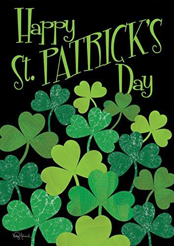 Toland Home Garden Shamrocks 28 x 40 Inch Decorative Happy St Patrick's Day Shamrock Clover Double Sided House Flag