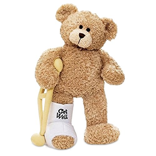 GUND Break a Leg Jr., Broken Leg Bear Get Well Soon Teddy Bear with a Cast, Crutch and Signature Cast 8.5 inches - Firefighter Teddy Bear