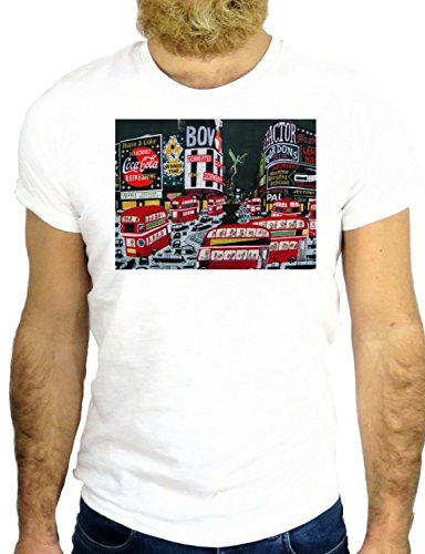 T SHIRT Z0875 LONDON DOUBLE DECK RED BUS TRAFALGARE SQUARE SUBWAY COO GGG24 BIANCA - WHITE M