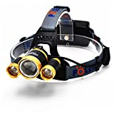 LED Headlamp 5000 Lumen Zoomable Super Bright,Headlight Bicycle Flashlight,4 Modes,Adjustable,Micro usb charging port Rechargeable 18650 Battery Batteries & Dual Smart Charger (Golden-RJ-3t-5000)