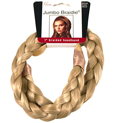 Mia Jumbo Braidie Headband-3/4 Inch Wide Braided Headband Made Out Of Synthetic/Faux Wig Hair-Blonde Color May Vary-Elastic One Size Fits All (not (Braided Hair Headband)