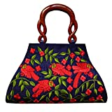Partywear Designer Evening Embroidered Clutch Purse Sling Bridal Wedding Clutch Handbag Purse For Women Girls Stylish Branded With Handle Sequined Beaded Thread Work By Krushh ON SALE!!!! (RMulti) (Navy Blue)