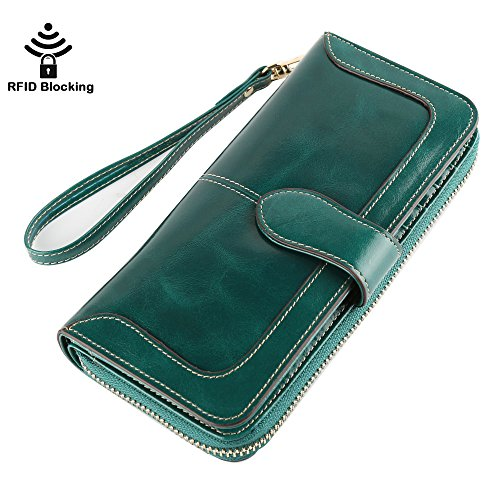 Women's RFID Blocking Genuine Leather Wallet Ladies Zipper Wristlet Clutch (Green) (Leather Strap Wallet)
