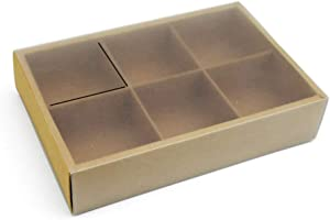 BBC 6 Cavity Craft Paper Moon cake Box With Translucent Lid And Dividers Bakery Gift Packaging 10 Counts (6 Cavity)