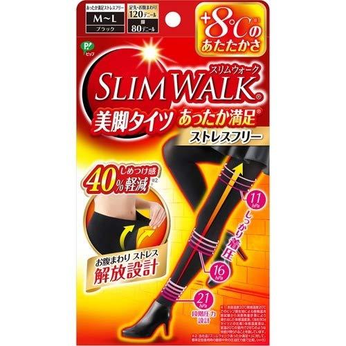 【まとめ買い40個セット】スリムウォーク 美脚タイツ あったか満足 M~L ブラック 1足入 B07LCCVDRP