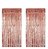 Kicpot 2pcs 3ft x 8.3ft Rose Gold Metallic Tinsel Foil Fringe Curtains for Rose Gold Bachelorette Party Decorations