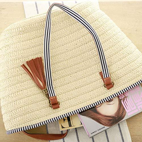 outdoor beach Using Large Summer shopping Bag For Working Basket Shopping Beige Handbag Daily Activities Shoulder Beach Zipper Straw Womens Vacation Tote fUqEaaO