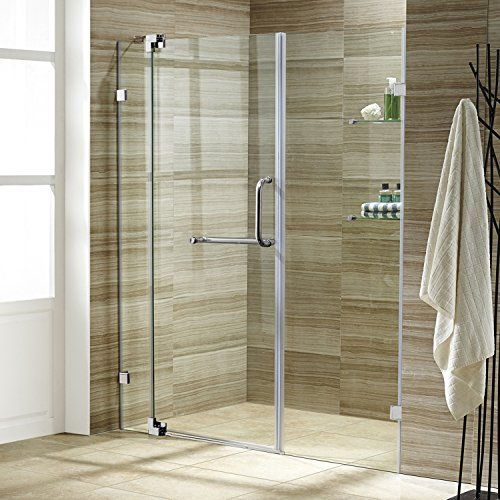 VIGO Pirouette 60 to 66-in. Frameless Shower Door with .375-in. Clear Glass and Chrome Hardware