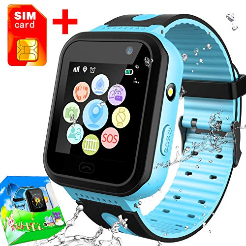 [SIM Card Included] Kids Phone Smart Watch IP67 Waterproof GPS Tracker for Boys Girls Two Way Call SOS Phonewatch Anti-Lost Game Camera Pedometer Outdoor Travel Wristband Birthday Gifts