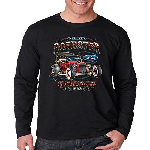 Licensed Ford Long Sleeve Shirt T-Bucket Roadster Garage Mens S-3XL (Black, 3XL) (Roadster Sleeve Long)