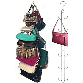 2 Pk Over Door Hanging Purse Storage   DURABLE, Holds 50 POUNDS, ROTATES  360 For Easy Access; Purses, Handbags, Satchels, Crossovers, Backpacks,12  Hooks, ...
