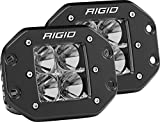 Rigid Industries 212113 D-Series Pro Flood Light; Flush Mount; Hybrid; 4 White LEDs; Black Square Housing; Set Of 2;