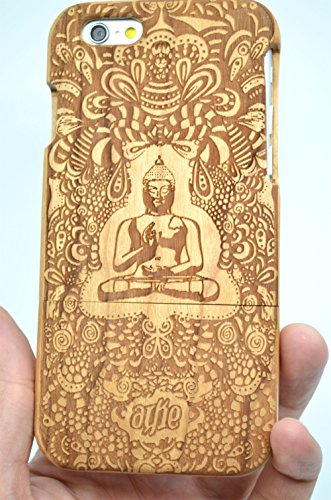 Wood Case - Cherry Wood Indian Buddha - Premium Quality Natural Wooden Case for your Smartphone and Tablet - by VolksRose(TM) ()