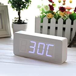 EiioX Rectangular Wooden Alarm Clock - White Wood Grain Blue LED Clock - Time Thermometer Date Display Voice and Touch Activated