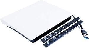 Ultra Slim USB 3.0 Pop-Up External CD/DVD/BD Optical Drive Enclosure Kit ODD Caddy for HP Dell Lenovo Asus Acer Laptop Internal 9.5mm 9mm SATA Tray-Loading DVD Blu-ray Drive White